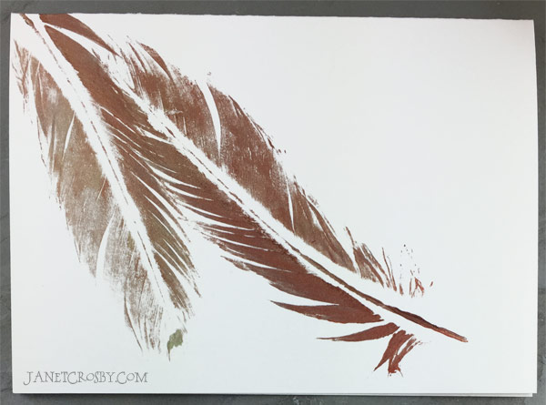 Copper Feather Print Card