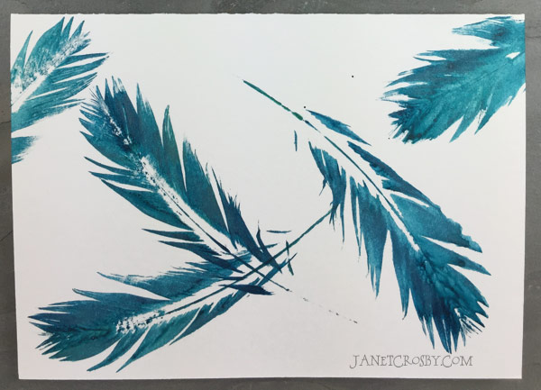 Teal Feather Print Card